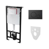 Комплект: Инсталляция для подвесного унитаза AM, с панелью смыва (круглые клавиши) и креплениями к стене и для унитаза, чёрная матовая, AM-KIT-ROUND-BM