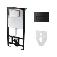 Комплект: Инсталляция для подвесного унитаза AM, с панелью смыва и креплениями к стене и для унитаза, чёрная матовая, AM-KIT-SQUARE-BM