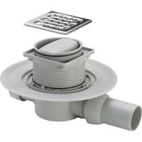Комплект: Душевой трап SVG, с решеткой 100х100, сухим затвором и сифоном, SVG-ADV60248-CR