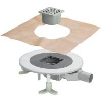 Комплект: Душевой трап SVG, с решеткой 100х100, сифоном, защитным кожухом и гидроизоляцией, SVG-ADV60256-CR