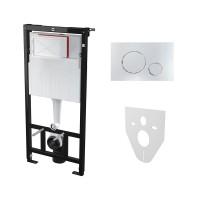 Комплект: Инсталляция для подвесного унитаза AM, с панелью смыва (круглые клавиши) и креплениями к стене и для унитаза, хром, AM-KIT-ROUND-CR