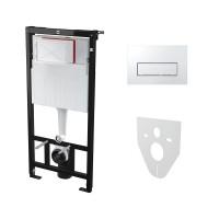 Комплект: Инсталляция для подвесного унитаза AM, с панелью смыва и креплениями к стене и для унитаза, хром, AM-KIT-SQUARE-CR