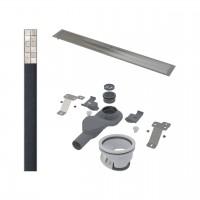 Комплект: Дренажный канал AP 810 мм, с решеткой для плитки, ножками и низким сифоном 54 мм, нержавеющая сталь, AP-KIT-54INS75-WF