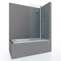 Шторка на ванну FLOW, 100x150, профиль хром, стекло прозрачное, ST-FLOW10-NTRCR
