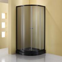 Душевое ограждение GALLERY, 100x100x190, профиль черный, стекло тонированное, ST-GALL1010-NTOBK