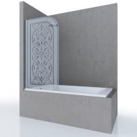 Шторка на ванну MIA, 80x140, левая, профиль хром, стекло с декором, ST-MIA08-LD2CR