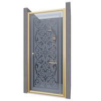 Душевая дверь в нишу PUERTA, 90x190, профиль золото, стекло с декором, ST-PUER09-ND2GL