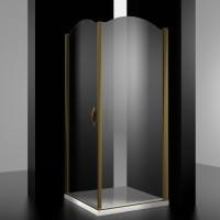 Душевое ограждение BURG, 100x100x207, левое, профиль бронза, стекло прозрачное, LUX-BURG1010-LTRBR