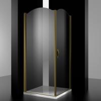 Душевое ограждение BURG, 90x90x207, правое, профиль бронза, стекло прозрачное, LUX-BURG0909-RTRBR