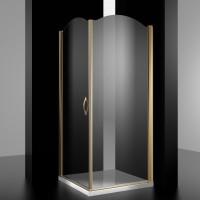 Душевое ограждение BURG, 90x90x207, левое, профиль золото, стекло прозрачное, LUX-BURG0909-LTRGL