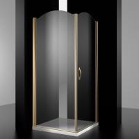 Душевое ограждение BURG, 100x100x207, правое, профиль золото, стекло прозрачное, LUX-BURG1010-RTRGL