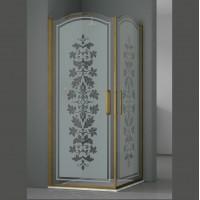 Душевое ограждение ELEGANZ, 100x100x207, профиль бронза, стекло с декором, LUX-ELEG1010-ND1BR