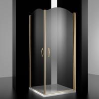 Душевое ограждение ELEGANZ, 100x100x207, профиль золото, стекло прозрачное, LUX-ELEG1010-NTRGL