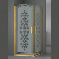 Душевое ограждение ELEGANZ, 100x100x207, профиль золото, стекло с декором, LUX-ELEG1010-ND1GL