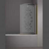 Шторка на ванну JUWEL, 90x150, правая, профиль бронза, стекло с декором, LUX-JUWE09-RD1BR