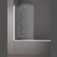 Шторка на ванну JUWEL, 90x150, левая, профиль хром, стекло с декором, LUX-JUWE09-LD1CR