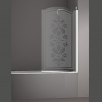 Шторка на ванну JUWEL, 90x150, правая, профиль хром, стекло с декором, LUX-JUWE09-RD1CR