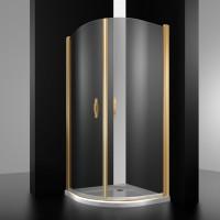Душевое ограждение LOUVRE, 90x90x200, профиль золото, стекло прозрачное, LUX-LOUV0909-NTRGL