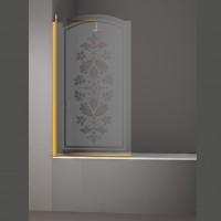 Шторка на ванну JUWEL, 90x150, левая, профиль золото, стекло с декором, LUX-JUWE09-LD1GL