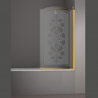 Шторка на ванну JUWEL, 90x150, правая, профиль золото, стекло с декором, LUX-JUWE09-RD1GL