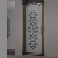 Душевая дверь в нишу SCHICK, 80x207, левая, профиль бронза, стекло с декором, LUX-SCHI08-LD1BR