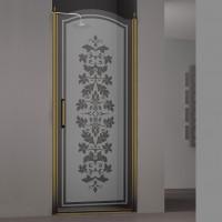Душевая дверь в нишу SCHICK, 80x207, правая, профиль бронза, стекло с декором, LUX-SCHI08-RD1BR