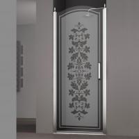 Душевая дверь в нишу SCHICK, 90x207, левая, профиль хром, стекло с декором, LUX-SCHI09-LD1CR
