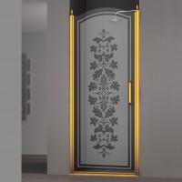 Душевая дверь в нишу SCHICK, 90x207, левая, профиль золото, стекло с декором, LUX-SCHI09-LD1GL