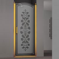 Душевая дверь в нишу SCHICK, 90x207, правая, профиль золото, стекло с декором, LUX-SCHI09-RD1GL